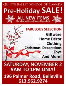 Holiday Gift Sale @ Quinte Ballet School of Canada