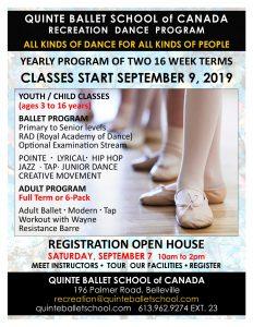 Recreation Classes @ Quinte Ballet School of Canada