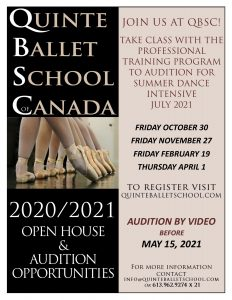 Open House & Audition Opportunity @ Quinte Ballet School
